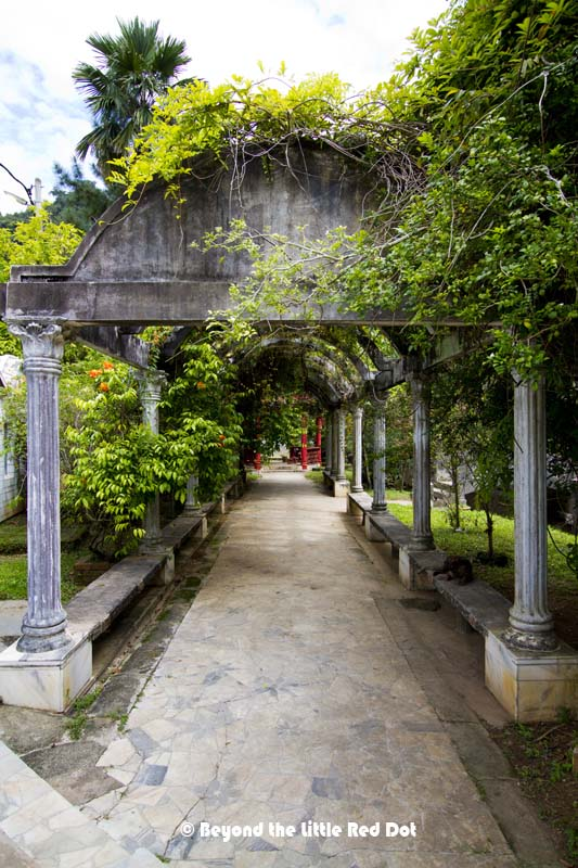 Once grand looking archways are now overgrown with vines. It does give that abandoned look to the place.