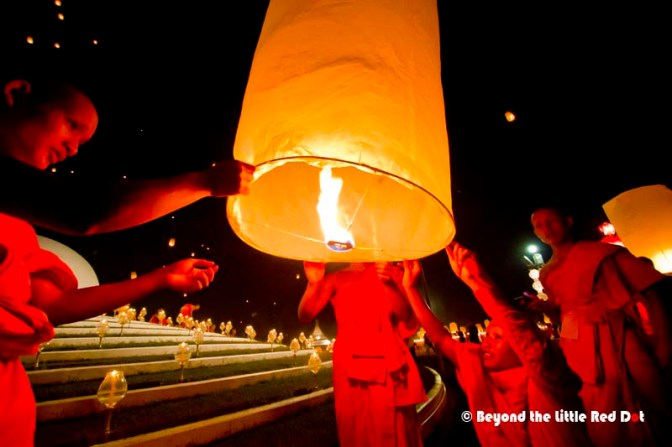 After the main event has almost ended, the monks release their sky lanterns.