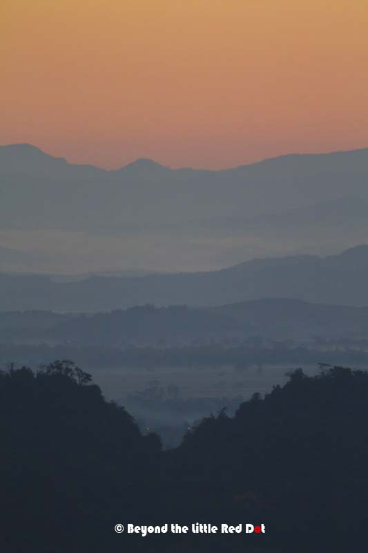 The beauty of the mountains in layers just before the sunrise.