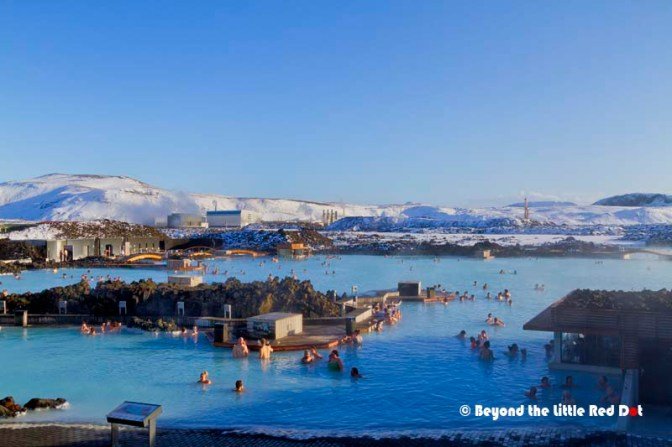 The Blue Lagoon is not natural. It is actually formed from waste water that discharges from the geothermal power plant that is in the background.