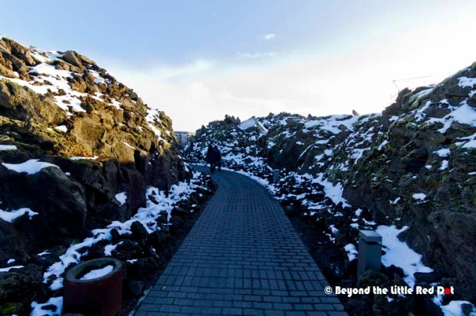 The path from the carpark to the Blue Lagoon through a volcanic lava field.