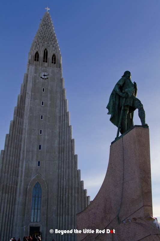 Another view of Hallgrimskirkja and the statue of Leifur Eiríksson. Hallgrimskirkja is a Lutheran church and took 41 years to build (1945-1986).
