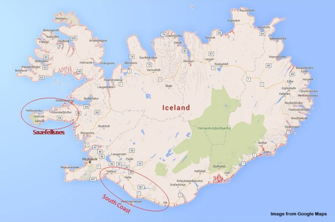 A quick glance on where the South Coast and Snæfellsnes Peninsular are on Iceland. Both areas are easily accessible from Reykjavik.