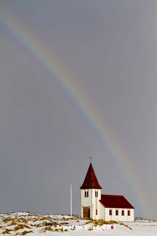 The church at Hellnar. I took this gorgeous rainbow as a passing cloud brought falling snow.