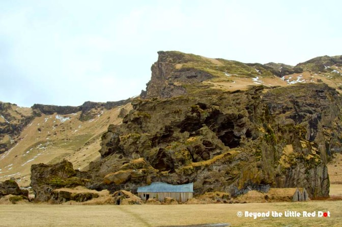 Supposedly elf castle or troll house. It's houses which are built into the volcanic rocks.