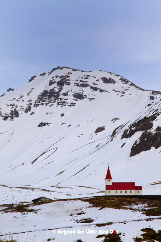 The church of Vik. Located on top of a small hill near the village.