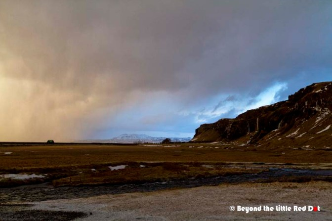 The weather started to change as we left Seljalandfoss. Clouds were bringing hail and snow.