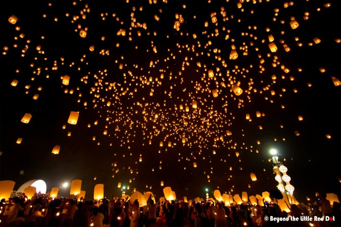 The surreal moment when thousands of sky lanterns are up in the air.