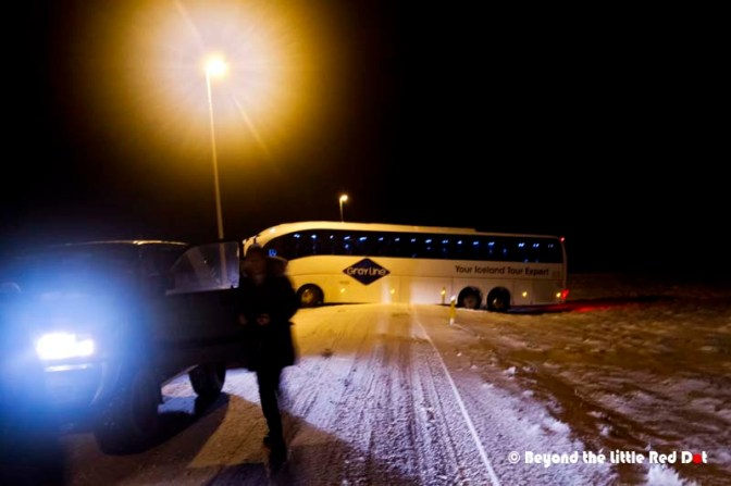 Even the experts can get it wrong. This excursion bus got stuck on the snow out road while trying to make a turn. The tourists had to wait out the night while they got another bus to come.