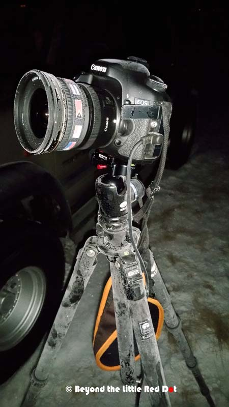 This is what happened to my camera and tripod after being left out in sub-zero temperatures for a few hours while photo taking the Aurora.