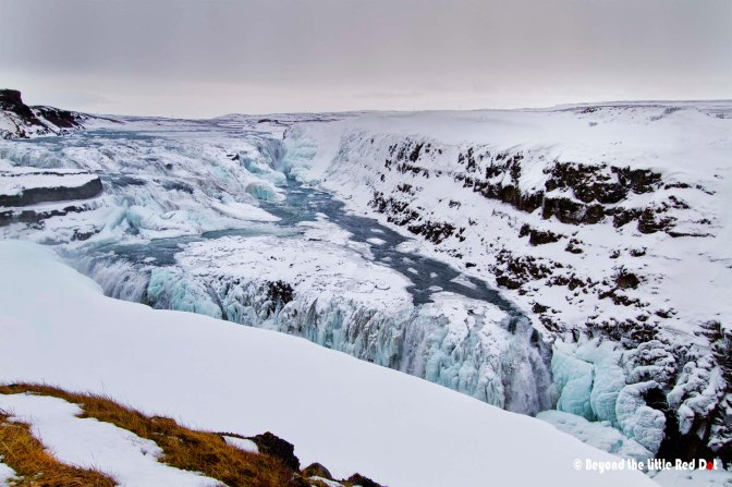 The sight is absolutely mesmerizing. We've never seen a frozen waterfall before.