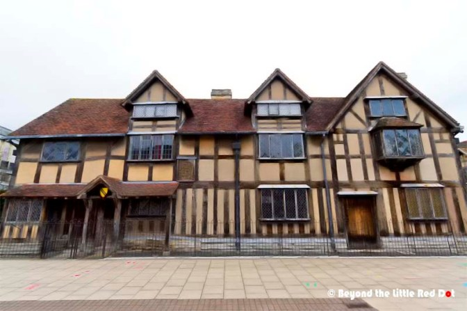 The front of Shakespeare's birth house. It faces the main street but is closed off to visitors. Visitors need to enter from a side entrance.