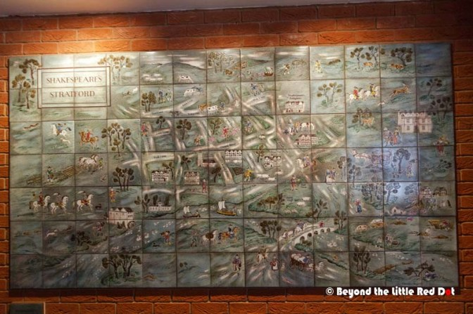 A nice looking wall tile mural with a map of Stratford upon Avon.