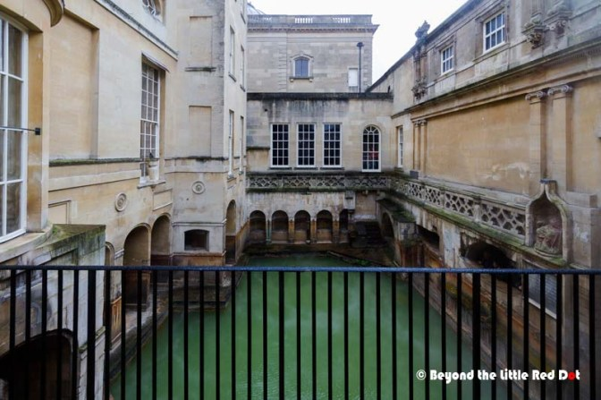 A glimpse of the Roman baths from the entrance window.