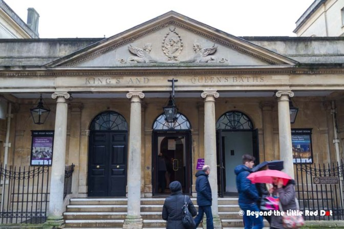 The entrance to the Roman baths. There is a fee if you want to use the baths, although you can get a glimpse of it from the entrance.