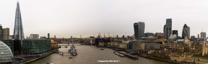 A panoramic east view of central London from Tower Bridge.