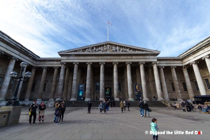 The front door of the British Museum. It's an impressive building with a Greek style façade.