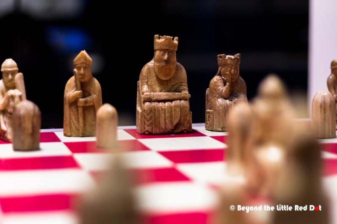 An ancient chess set. The King is contemplating his next move, while the Queen looks bored.
