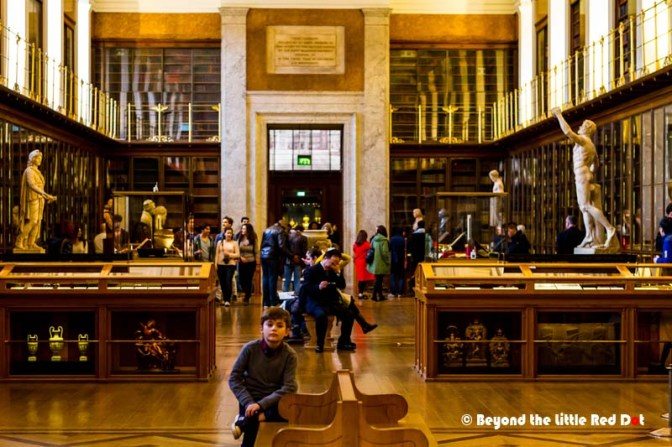 The King's Library gallery which houses books and documents from history.