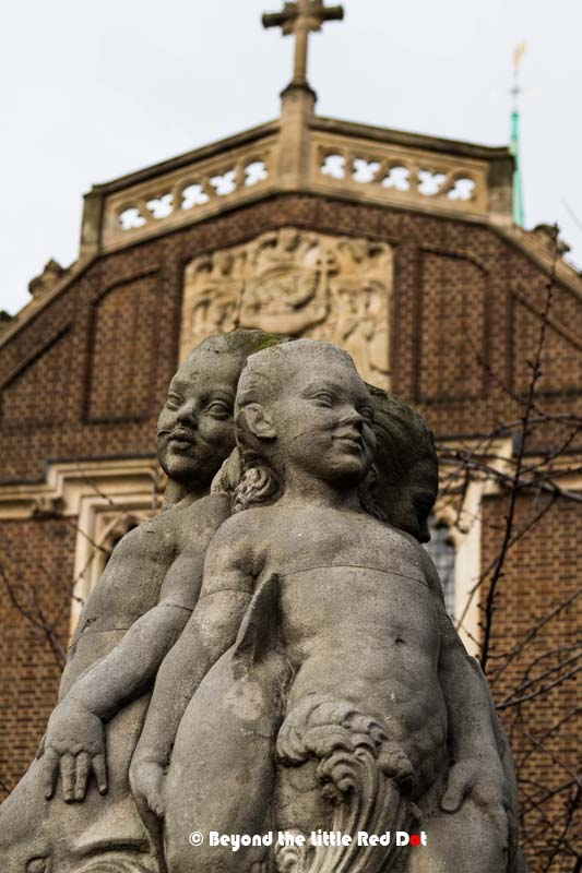A statue of cherubs near the Tower. There is also a nice restaurant where we had a good breakfast.