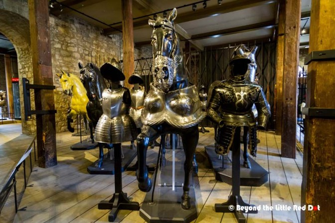 An impressive collections of medieval amrour is on display in the Tower.