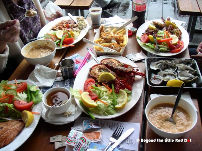 Our seafood lunch. There's just so much seafood to choose from.