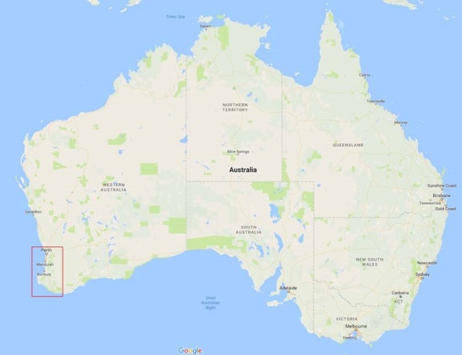 And if you think 1,000km is a lot. We had only traveled to a small part of Australia (the previous map is the area in red).