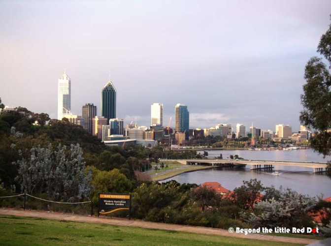 King's Park and Botanic Garden is a nice place to spend the day and it overlooks Perth.