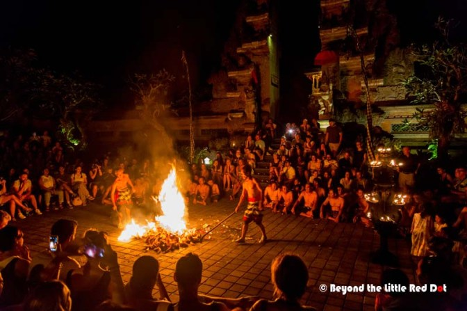 At the end of the performance, they started burning a pile of coconut husks in the center. I wonder what's going on.