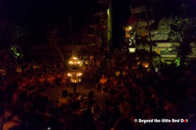 At the start of the Kecak dance. The only light is from the burner in the center.
