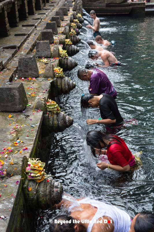 Devotees bow under the water spouts to be blessed.