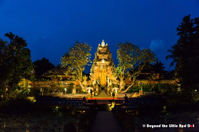 Pura Taman Saraswati at night. It's usually lighted every night for cultural performances.
