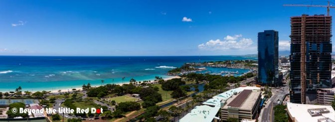 View of Ala Moana Beach from our apartment.