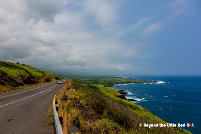 Stopping by the highway to take some photos. The black sand beach is down there in the background.