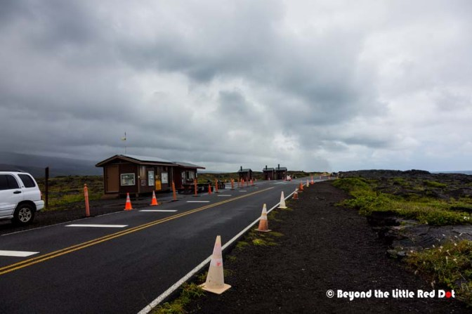 The end of the Chain of Craters Road. It had been blocked by lava previously, but a temporary road has been built to enable visitors to see the lava flow.