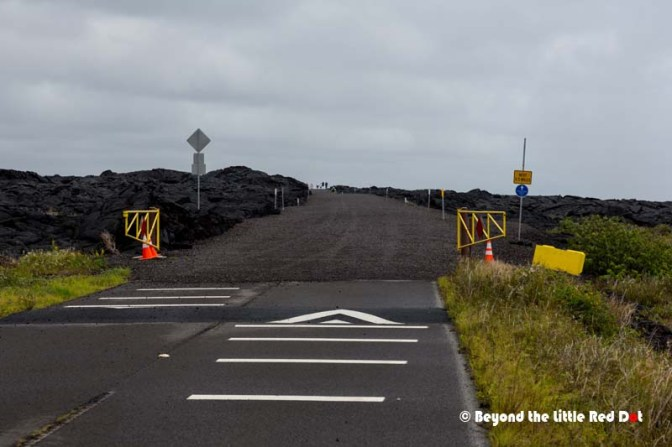 This is the temporary road that will lead to the lava flow we saw last night, but coming from the east.