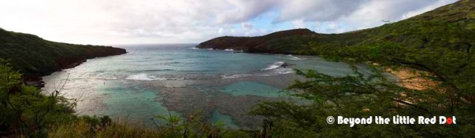 Looking out over Hanauma Bay from the top where the entrance is.
