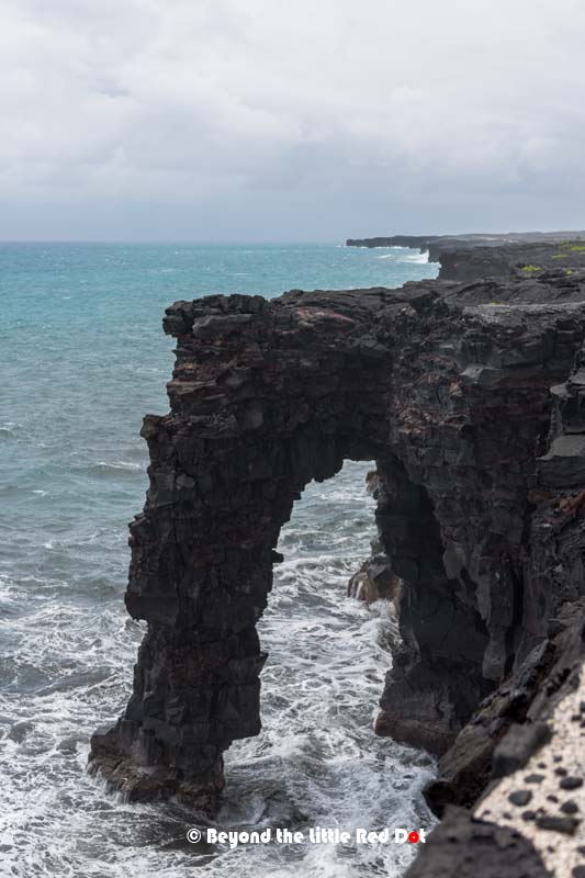 The Holei Sea Arch formed by erosion of volcanic rock. It's expected to collapse in the future.