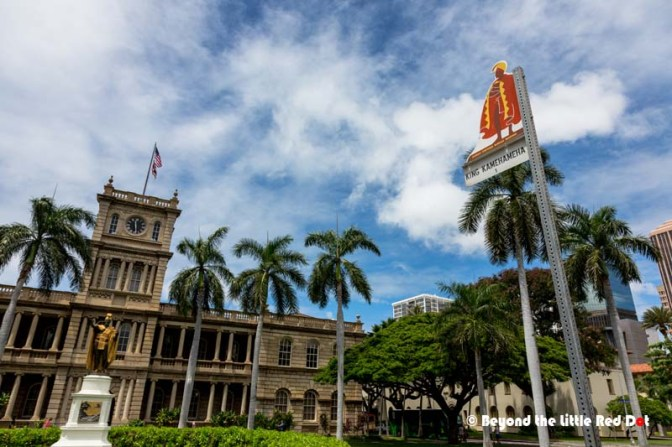 Across the street is Aliiolani Hale and the iconic statue of King Kamehameha. This was formerly the seat of government for the monarchy, and is now the supreme court.