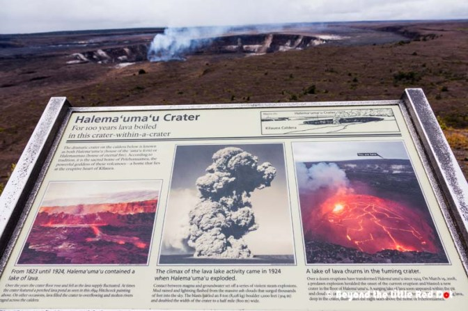 An info board telling about the history of Kilauea crater.