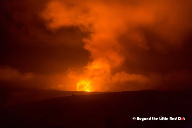 Kilauea crater at night. The wind was blowing the fumes away from us which was good.