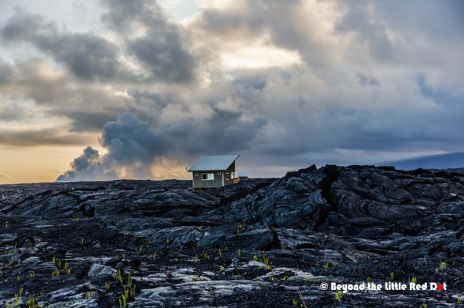 A surreal landscape greeted us. Old lava flows had covered several towns over the years. The residents built shacks on top of the lava just to claim their old land.