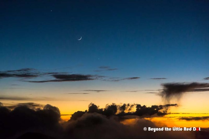 Just before we leave the summit, the Moon, Jupiter and Venus appear.
