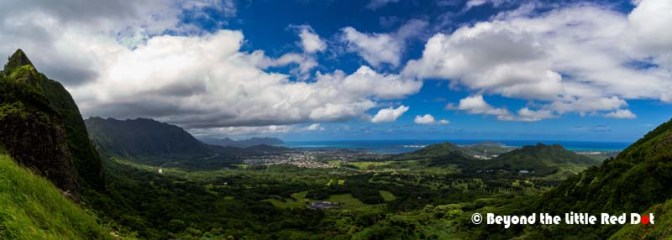 View of Kaneohe own and bay from the lookout.