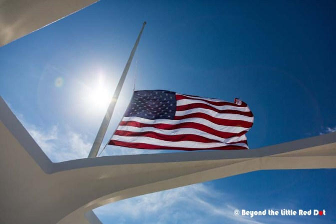 The flags in Pearl Harbor are always at half mast to honour the dead.
