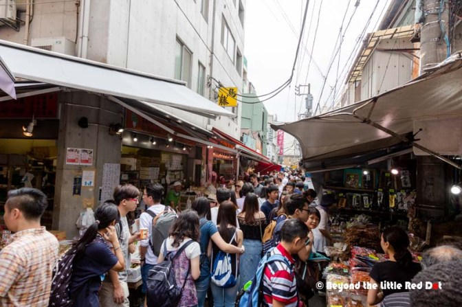 The streets inside Tsukiji are extremely packed with locals and tourists.