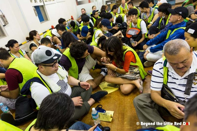 After 3am they let us into the waiting room where we could sit and rest while waiting. We were in the first batch and had to wear these yellow vests to identify us as visitors.
