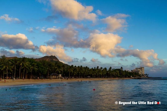 Diamond Head crater can be seen from Waikiki Beach. It's another famous landmark in Oahu.
